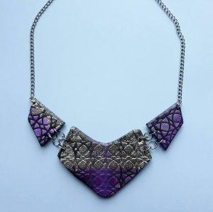 Collar Fantasy Metallic Violeta y Plata