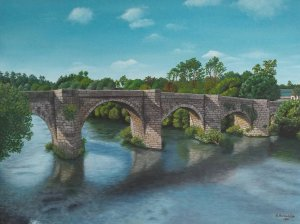 Ponte medieval Pontevea. Oil on canvas 40x30 cm