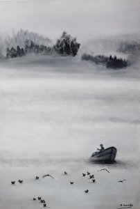 The fisherman on the lake