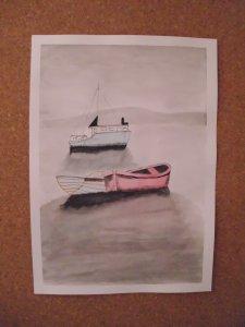 Boats in haze