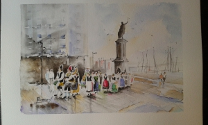 folclore en la plaza del marques,gijon