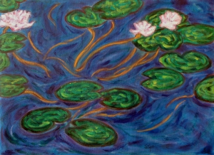 Flowered water lilies.