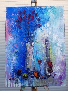 """Pintura al Óleo sobre lienzo""""Flores blancas en vino rojo""""60x45cm,Arte abstracto,Lienzo calidad,decoración de pared para hogar"""