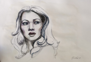 Retrato femenino de acuarela