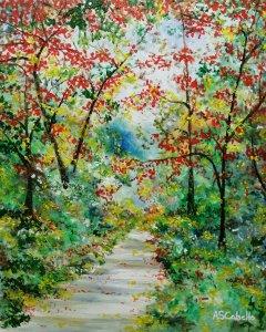 Paisaje del bosque en otoño