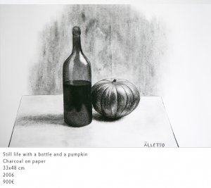 Still life with a bottle and a pumpkin