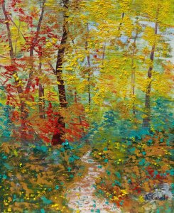 Falling leaves in the forest