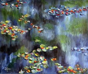 blooming water lilies.