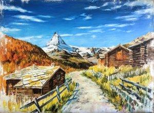 Matterhorn from Zermatt. Oil paintings of snowy landscapes