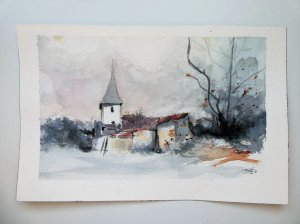 Snowy village landscape in watercolor