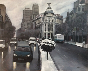 Nieve en la Gran Vía de Madrid.