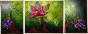 triptico floral tonos Verde y Morado