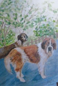watercolor and encaustic