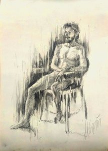 Male human figure. Original drawings online