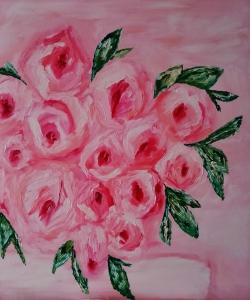 Hojas y rosas rosas