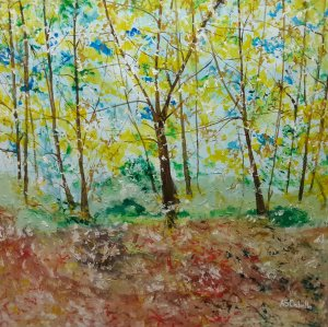 The forest of yellow leaves 120X120 CM.