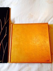 Wooden canvas gold paint