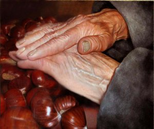 Hands of elderly man