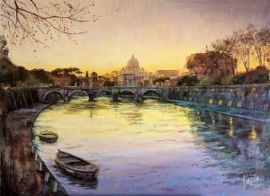 View of Rome Tiber River and the Vatican. Pictures for rooms
