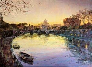Vista de Roma. Río Tíber y el Vaticano. Cuadros para salones