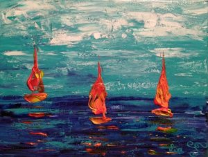 Sailboats of Fire on the Sea