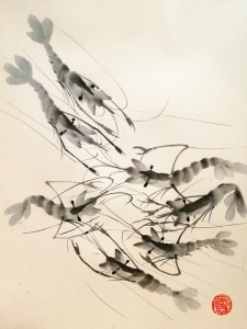 Gambas a la tinta china