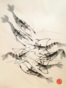 Gambas a la tinta china
