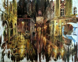 Prague painting - Cityscape - Paintings of cities at night