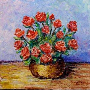 Centro de rosas rojas.