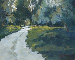 54-Luz en el camino, acrílico sobre tela 50x61 cm.
