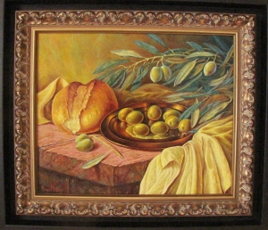 STILL LIFE WITH OLIVES, BREAD AND OLIVE BRANCHES