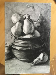Still life. Jar with pears.