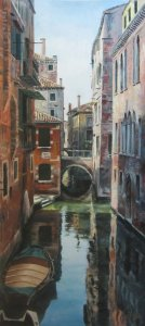 A channel of Venice. Modern oil paintings