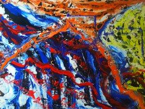 Cascada de color..Pintura original 100x80 ENVÍO GRATIS A ESPAÑA PENINSULAR