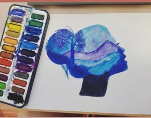 Silhouette in watercolor