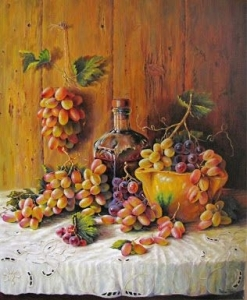 Still Life with Grapes, BOTTLE OF WINE AND MORTAR