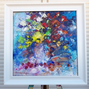 """Oil painting on canvas """"Flowers"""" 40x40 cm / Abstract art, flowers, painting with white frame, original painting by the artist."""