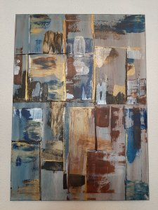 Gold and Blue, 70x50 cm, BLACK FRIDAY -20%, 80 euros