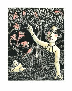 The ornithologist, linocut 50 x 38 cm