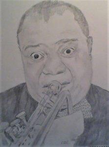 Retrato de Louis Armstrong a lapiz y grafito
