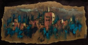 Alhambra of Granada. Original paintings painted by hand