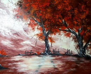 SILENCED LANDSCAPE ... painted canvas 100x80 cm 20% DISCOUNT