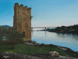 Torres de Oeste (Catoira). Oil on canvas 40x30 cm.