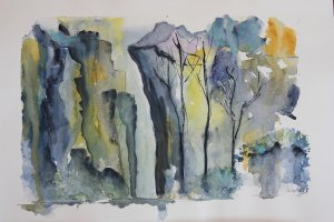 """Original watercolor, DIN A3, """"Desfiladero"""""""