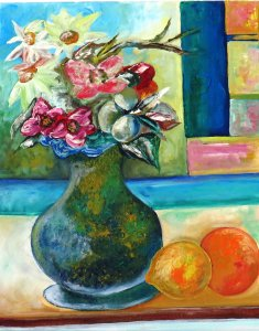 Vase still life with flowers and citrus