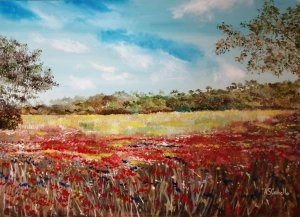 Panoramic of a flowered field