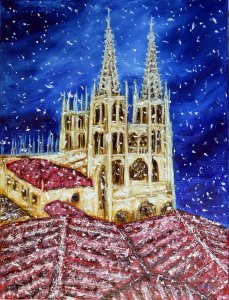 Cathedral of Burgos snowing.