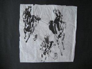 3 caballos en negro