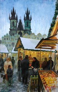 Prague painting - Cityscapes and oil paintings of cities