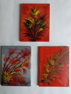 Fantasy in 3 small paintings ... Oil